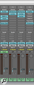 In this mix window shown above, separate effects (shown as inserts) are used for each individual track. Using effects in this way can give you greater control over the way in which each track interacts with its effects.