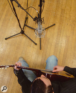 There's no reason why you can't use a spaced pair of mics alongside a coincident pair, such as the Mid/Side arrangement shown here. But when recording a single instrument it can have little effect, unless you are specifically trying to capture a lot of ambience from a reverberant room. Using the Mid/Side approach has advantages over a crossed pair, as you can get a full, on-axis sound from the centre mic, with the sides of the figure-of-eight adding some 'space' to the sound.