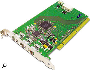 For PC users who need Firewire 800 ports, or for those on a Mac who need more than the standard complement, separate PCI cards are available. This Lacie card has been tested by RME, and is said to be fully compatible with their Fireface 800 audio interface.
