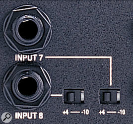 Some equipment (such as the Digidesign 002 audio interface, pictured here) gives you the ability to change the operating level of the line-level audio inputs. This allows easy integration with both professional and semi-pro setups.