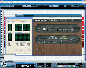 CPU meters don't always agree, but this doesn't mean that anything is necessarily wrong: here Cubase 4 is running aheavy‑duty soft synth that consumes almost 100 percent of asingle core of this dual‑core PC. The high Cubase ASIO meter reading (bottom left) simply indicates that one or more cores is approaching its limit, as also seen in Windows' Task Manager, which still shows an average CPU Usage of just 40 percent.