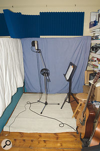 Hanging duvets behind the vocalist will help to reduce the amount of unwanted room ambience being recorded, enabling you to add some sympathetic reverb at a later stage.