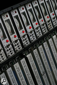 A rack of Dolby A NR modules, Dolby Labs' first professional noise reduction system.
