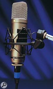 Leaving a condenser mic such as this Rode NT1A on it's stand and powered up when not in use does no damage, though you might want to keep the dust off with a polythene bag.