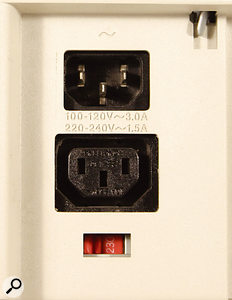 A switchable PSU lets the user set the unit to accept the local mains voltage, often by means of a recessed red switch, as seen here.