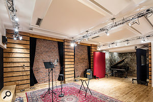 The spacious live room in Studio A.