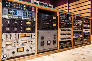 The outboard rack in Studio B is filled to the brim with vintage and modern goodies.