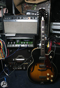 Will Holland's Roland RE101 Space Echo (in the centre of this picture) is often used to process the mix to achieve a lo-fi sound, as heard in the QSO material. The Gibson Reverb Echo (top) is oil-filled and, when used to process guitar, creates a different sound each time a note is played.