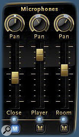 QL Piano's simple microphone mixer allows you to easily blend and pan the selection of close, player perspective and room mics.