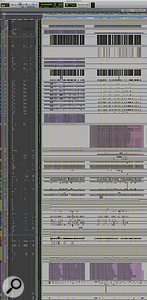 This zoomed–out view in Pro Tools shows the entire final mix session. All the songs were mixed within a  single project.