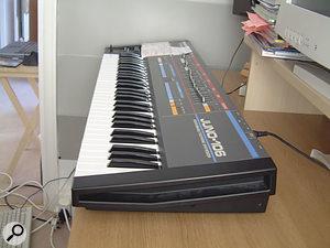 The main keyboard in David's studio, a Roland Juno 106.