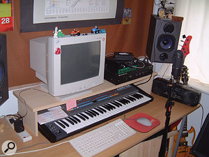 David Gledhill's studio measures about six by seven feet, and his main recording tool is an ageing 400MHz Pentium II PC.
