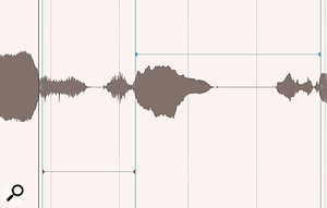 When dragging Stretch Markers, the colour of the markers (red, blue or grey) denotes whether the audio has been stretched, compressed or left intact.