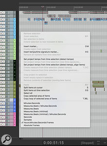 Reaper's default context menu.