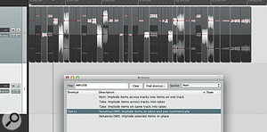 If you try to join the events without putting 'daylight' between them, the implode–and–pan Action can give you some strange results — so first visit Item Properties to ensure that your audio will not stretch with tempo changes, but that event start times will move. Then decrease the project tempo to separate the events.