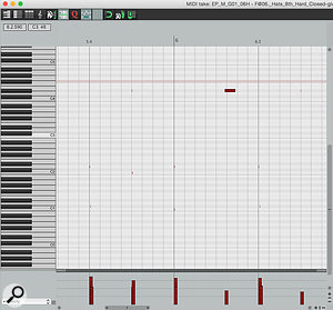1: A MIDI drum loop copied from EZdrummer to a Reaper track and viewed in the default piano roll editor. It's not the most informative of views!