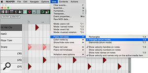 3: ...but Reaper offers many more options for customising the GUI of the MIDI editor, including representing notes as triangles, and the possibility of displaying the velocity next to each note.