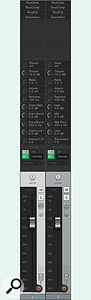 The left channel's knobs have default labels, taken from the plug-in parameters to which they're assigned. The right channel has more meaningful user-defined labels.
