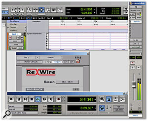 The Instrument track introduced in Pro Tools 7 contains MIDI data and outputs audio from the Instrument. It's also the ideal place to insert Reason outputs.