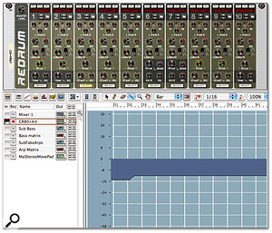 Manually recording a change in pitch of -15 to -12 for a Redrum drum voice resulted in this messy transition at bar 32.