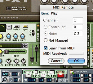 Setting Reason to start playback by pressing note C3 — middle C — on an attached MIDI keyboard.