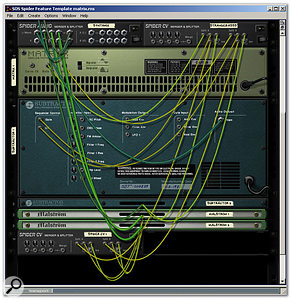 The Matrix plays two Subtractors and two Malströms, via Spider CV. Just for fun, the audio from the four synths is mixed by a Spider Audio that happened to be on-screen. An extra Spider CV is required, due to the first Spider CV's fourth CV output being fixed to 'inverted'. However, chained Spiders introduce no delays.