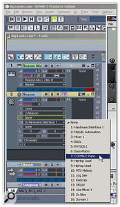 Reason's mixed stereo outs are inserted as tracks into Sonar. The MIDI track is being assigned to the CCRMA E Piano device. More MIDI tracks can be added to feed other instruments.
