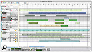 The new sequencer in Arrangement view. Tracks now have multiple lanes, and all data is stored in 'Clips'.