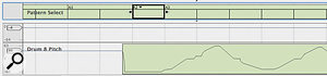Clips later in the timeline are always on top of earlier ones. Here a Pattern Change Clip is trimmed out, but slips behind the next Clip. This also happens with note Clips, and causes problems with both trimming and moving of Clips.