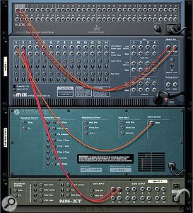 Some simple connections from instrument to mixer. Each mixer channel auto-switches between mono and stereo operation, depending on what's connected.