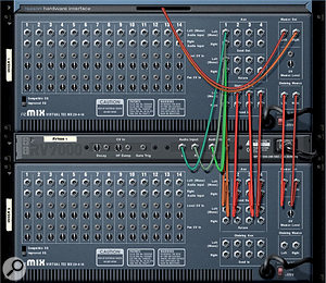 Two mixers chained together. This configuration allows both mixers to share send effects.