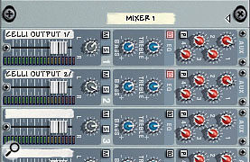 The width of stereo sources can be controlled by using two separate mixer channels.