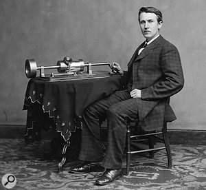 Top: Thomas Edison, pictured with his Phonograph. Below: the wax cylinders used with such machines.