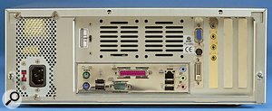 The Asus P4B533-M motherboard lacks options such as Firewire and integrated LAN, but does offer six USB ports.