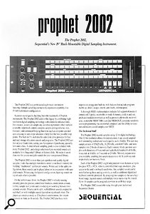 The original 1986 brochure for the rackmount Sequential Prophet 2002. How desktop publishing skills have come on since then!