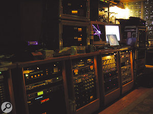 The well-stocked gear rack in Cello Sound, where Absolution was mixed, with Rich Costey's own gear on top and in the portable rack to the right.