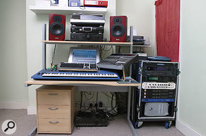 Steve and Dave do most of their programming and mixing in Steve's London flat, but often need to take their setup to studios to record, so it is kept in a mobile rack. The core of the system is a G4 Mac with a Pro Tools Mix Cube system running Logic as a front end.