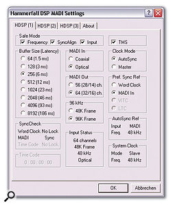 The Hammerfall DSP MADI Settings window, where up to three installed cards can be configured in terms of clocking and buffer sizes without restarting your host application.