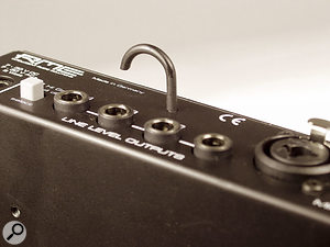A hook above the line outputs provides cable support, which may prove useful in live situations.