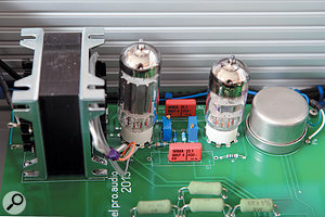 The right channel uses two Sowter transformers, two valves and two WIMA coupling capacitors.