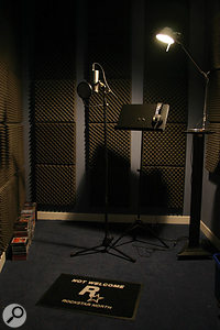 Most of GTA: SA's spoken parts were recorded in the US, but this vocal booth at Rockstar North's Edinburgh studios was used for recording jingles for the game's fake radio commercials, with the Rode Classic mic.