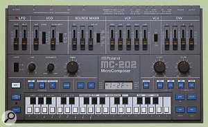 One-finger synth-pop in a box. Clearly from the same design stable as the SH101, the MC202 offered sequencing facilities and a monosynth in a compact, fun-to-use package.