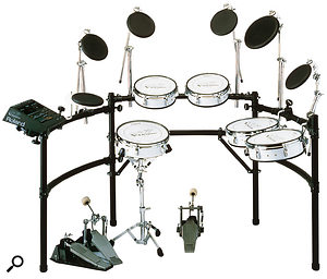 Drummers had failed to warm to Roland's electronic drums since the late '80s, but with 1997's V-Drums, the first COSM-based drum system, Roland finally cracked the market. The V-Drums have been revised a couple of times since, and remain some of the company's most successful current products.