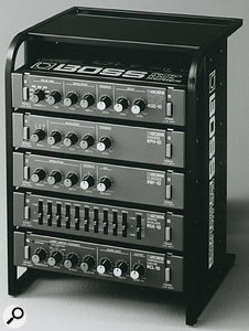 Some of Boss's Microrack series of affordable studio problem-solvers. The format was a hit, and Boss returned several times to the half-rack idea over the years.