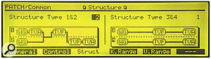 The Structure page, showing separate Structures for each Tone pair. The Structure on the right is the one used for most of the factory patches, but that shouldn't stop you experimenting with the other options.