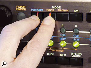 Simultaneously press the Perform and Patch buttons to edit Patches from within a Performance. Note that when the Rhythm Part is selected, pressing Perform/Rhythm enables fully detailed editing of the Performance's Rhythm Part in the same way.