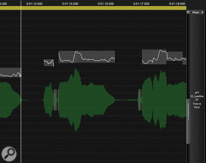Note blocks, with their internal pitch traces, are displayed as an overlay that can be scrolled to avoid obscuring the waveform beneath. Also note the white lines on the scroll bar, which make it easy to locate the note blocks if you've scrolled too far.