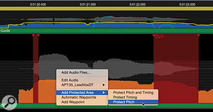 Adding a  Protected Area, to make certain sections of audio immune to the effects of Processes.