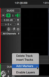 Adding a Marker track and inserting a Marker, which takes the form of a text box.