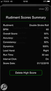 Every time you complete a Rudiment trial, your scores are displayed, along with an Overall score. Like all good Smartphone games, Drummer ITP then saves your high score, so you can try to beat it next time. This is really good and a fun way to improve your playing over time.